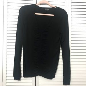 EXPRESS Black Long Sleeve Sweater with Gathering